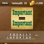 Level Variety 2 35 Equally important